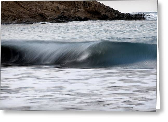 Summer Storm Greeting Cards - playing with waves 1 - A beautiful image of a wave rolling in noth coast of Menorca Greeting Card by Pedro Cardona
