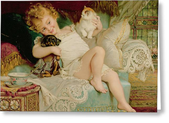 Annual Greeting Cards - Playmates Greeting Card by Emile Munier