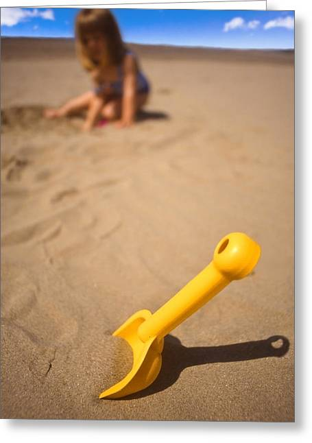 Playtime At The Beach Greeting Card by Meirion Matthias