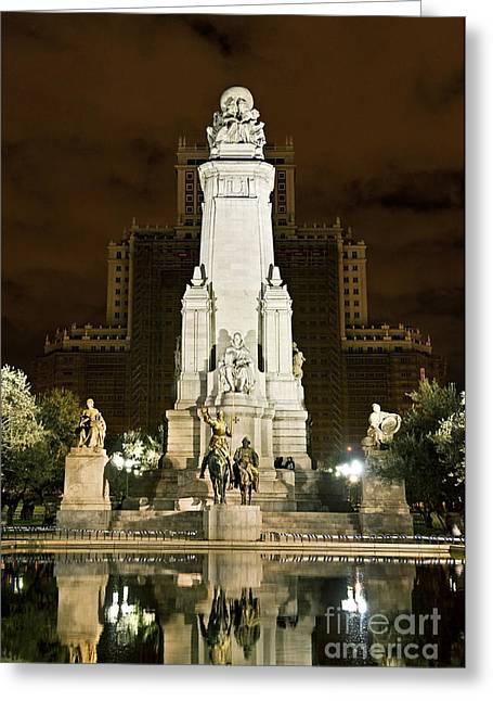 Sancho Panza Greeting Cards - Plaza de Espana Madrid Spain Greeting Card by John Greim