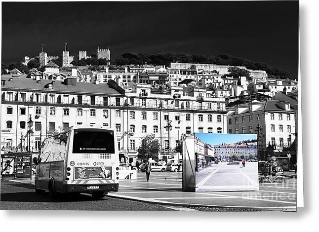School Bus Print Greeting Cards - Plaza de Figueroa Fusion Greeting Card by John Rizzuto