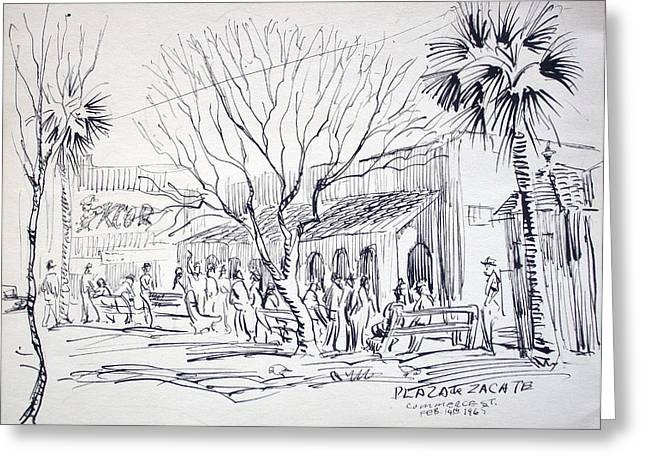 Park Benches Drawings Greeting Cards - Plaza de Zacate Greeting Card by Bill Joseph  Markowski