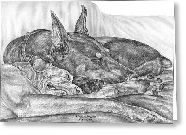 Dobermann Greeting Cards - Pleasant Dreams - Doberman Pinscher Dog Art Print Greeting Card by Kelli Swan
