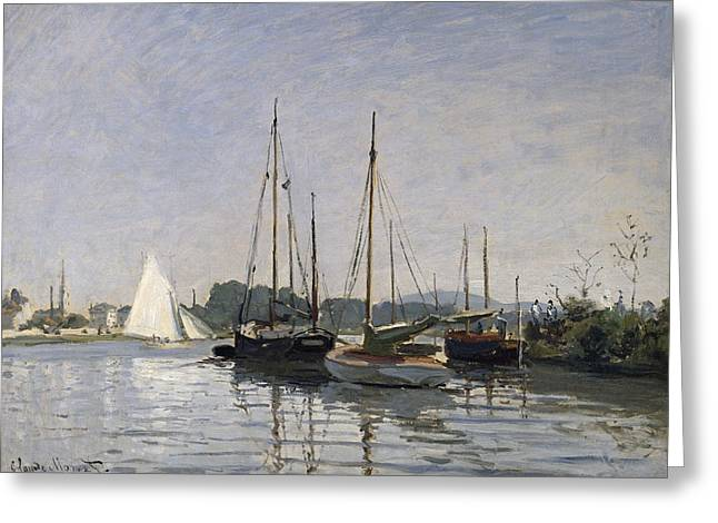 Impressionism Greeting Cards - Pleasure Boats Argenteuil Greeting Card by Claude Monet