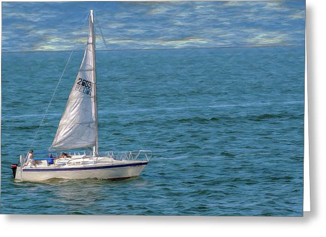 Boats On Water Digital Greeting Cards - Pleasure Cruise Greeting Card by Randy Steele