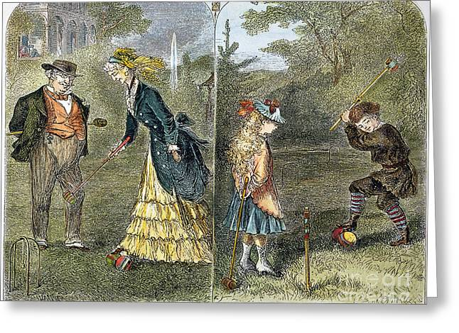 Croquet Greeting Cards - Pleasure Of Croquet, 1873 Greeting Card by Granger