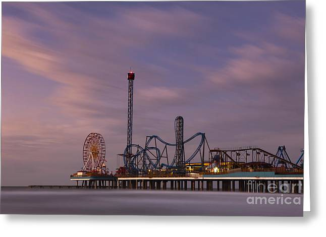 Arts Culture And Entertainment Greeting Cards - Pleasure Pier Amusement Park Galveston Texas Greeting Card by Keith Kapple