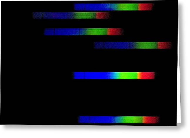 Pleiades Emission Spectra Greeting Card by Dr Juerg Alean