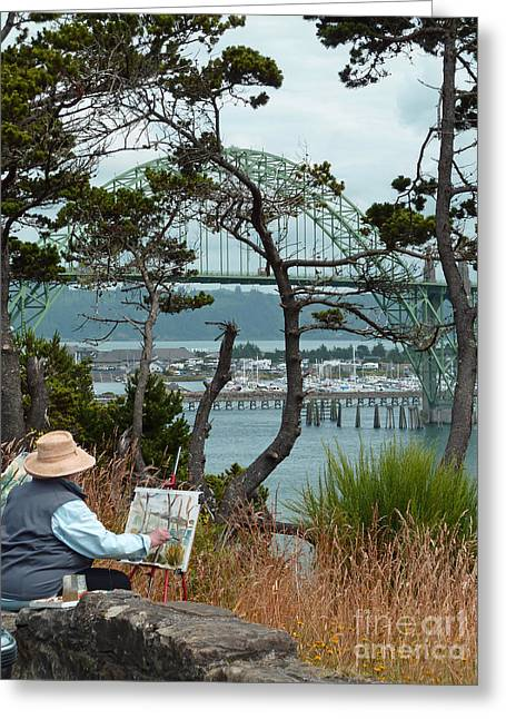 Ocean Art Photos Digital Art Greeting Cards - Plein Air Artist Greeting Card by Methune Hively