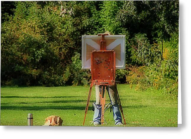Plein Air Artist Greeting Cards - Plein Air Painter Greeting Card by Andrew Fare