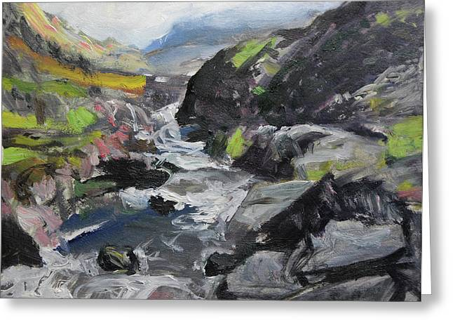 Naturalistic Greeting Cards - Plein air sketch at Ogwen Snowdonia Greeting Card by Harry Robertson