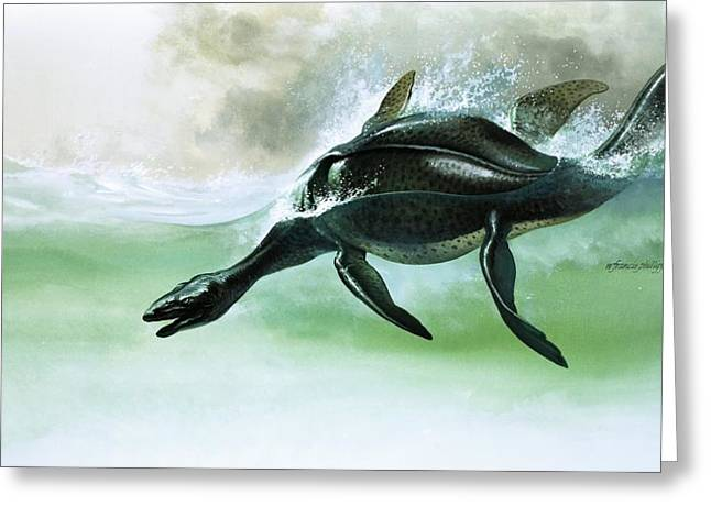 Prehistoric Greeting Cards - Plesiosaurus Greeting Card by William Francis Phillipps