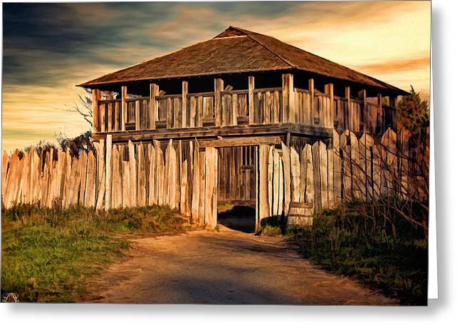 Photographs Digital Art Greeting Cards - Plimouth Plantation  meeting house Greeting Card by Lourry Legarde