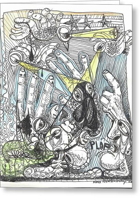 Urban Images Drawings Greeting Cards - Plop Greeting Card by Robert Wolverton Jr