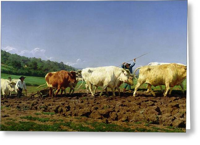 1849 Greeting Cards - Ploughing in Nivernais Greeting Card by Rosa Bonheur