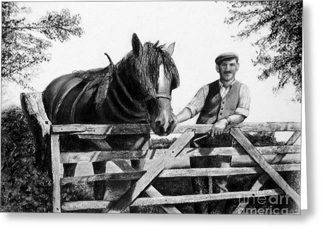 Gate Pastels Greeting Cards - Ploughman Greeting Card by Colleen Quinn