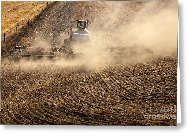 Plow Greeting Cards - Plowing the Ground Greeting Card by Mike  Dawson