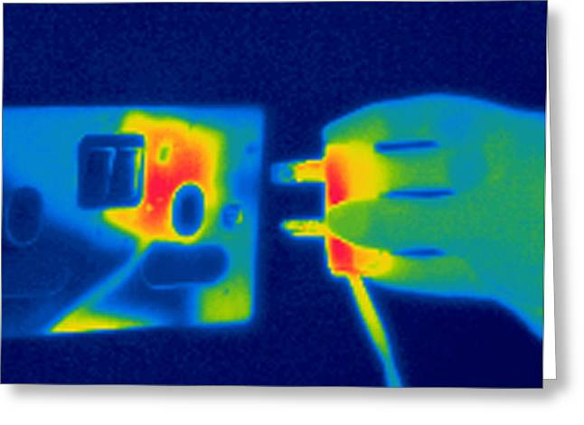 Electrical Plug Greeting Cards - Plug And Socket, Thermogram Greeting Card by Tony Mcconnell