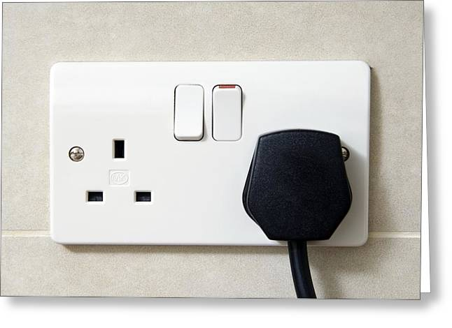 Plugged In Greeting Cards - Plug In An Electric Wall Socket Greeting Card by Johnny Greig