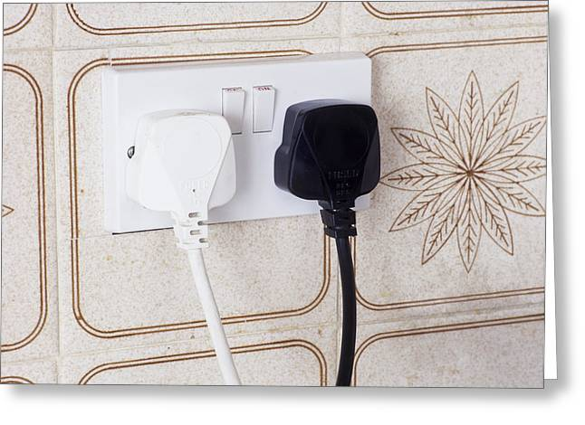 Electrical Plug Greeting Cards - Plugs In Sockets Greeting Card by Andrew Lambert Photography