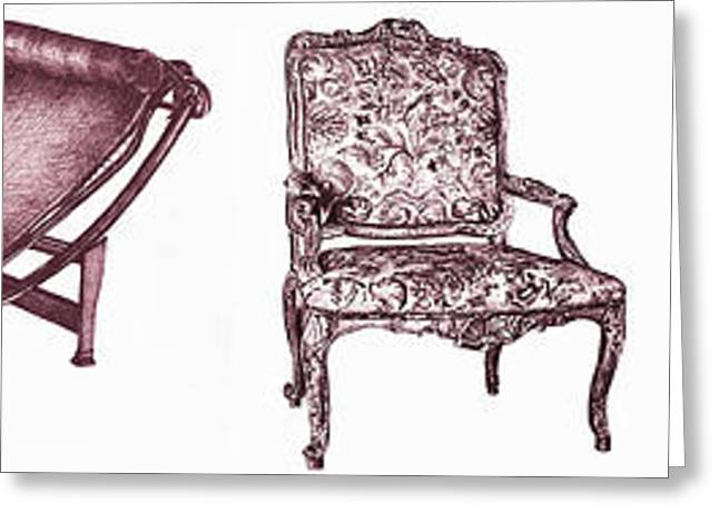 Chaise Drawings Greeting Cards - Plum chair poster horizontal  Greeting Card by Lee-Ann Adendorff