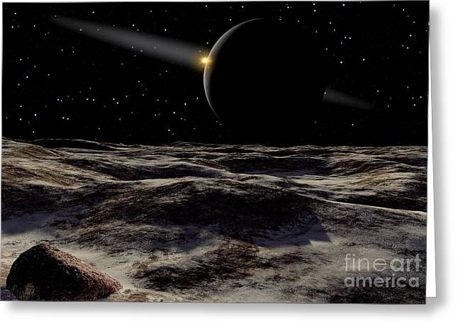 Astrogeology Greeting Cards - Pluto Seen From The Surface Greeting Card by Ron Miller