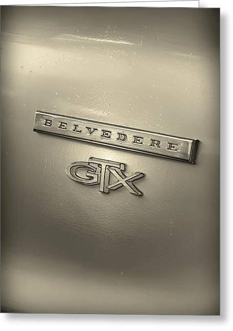 318 Greeting Cards - Plymouth Belvedere GTX Fender Emblem Badge Greeting Card by Gordon Dean II