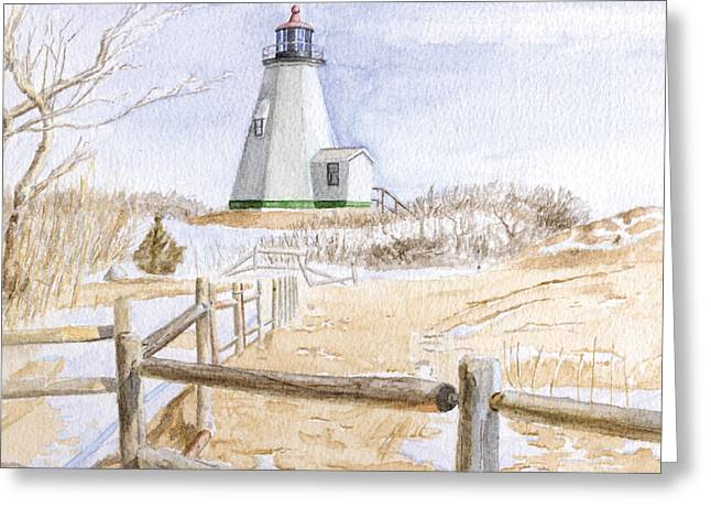 Gurnet Light Greeting Cards - Plymouth Light in Winter Greeting Card by Dominic White