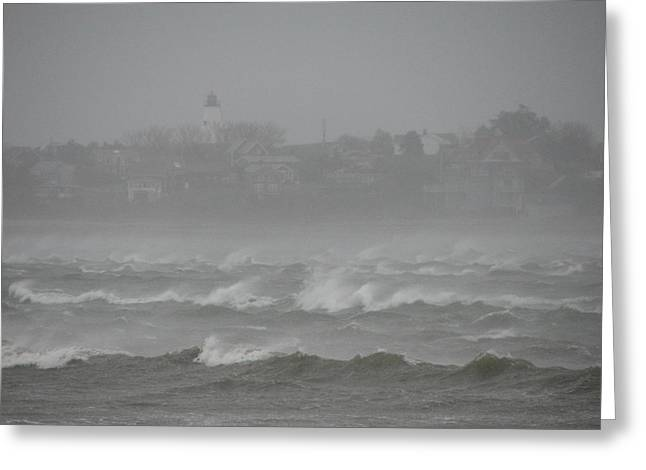 Best Sellers -  - Storm Clouds Cape Cod Greeting Cards - Plymouth Light Remaining Calm Greeting Card by Brian Mazzoli