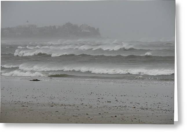 Best Sellers -  - Storm Clouds Cape Cod Greeting Cards - Plymouth Lighthouse Braves the Storm Greeting Card by Brian Mazzoli