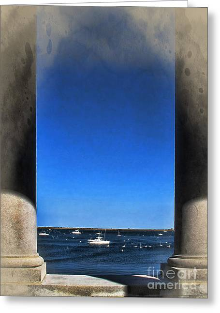 Plymouth Harbor Greeting Cards - Plymouyh Harbor and Columns Greeting Card by Joan  Minchak