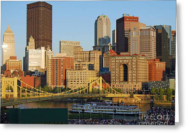 Pnc Park And River Boat Greeting Card by Steve Whalen