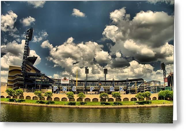 PNC Park Greeting Card by Arthur Herold Jr