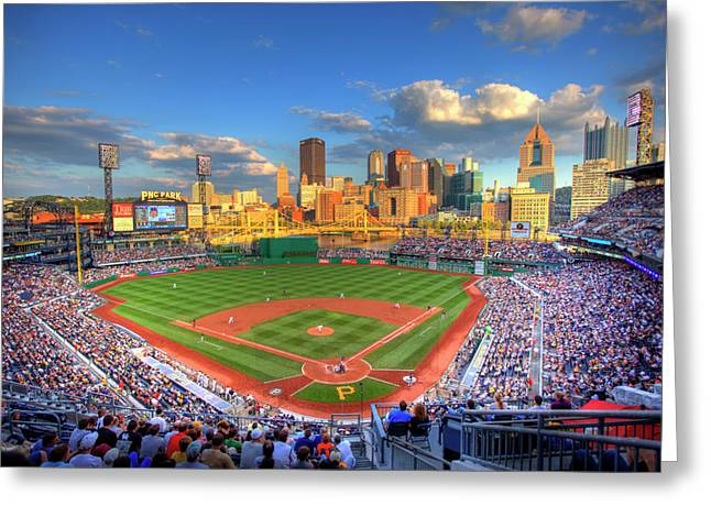 Skyline Greeting Cards - PNC Park Greeting Card by Shawn Everhart
