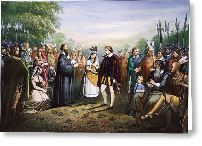 Indian Princess Greeting Cards - Pocahontas & John Rolfe Greeting Card by Granger