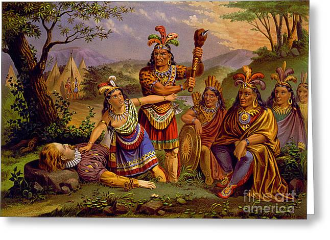 Native American Leaders Photographs Greeting Cards - Pocahontas Saving John Smith, 1607 Greeting Card by Photo Researchers