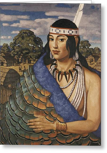 North American Indian Ethnicity Greeting Cards - Pocahontas Wears A Turkey-feather Robe Greeting Card by W. Langdon Kihn