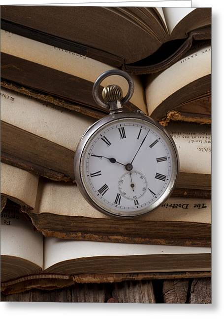 Pocket Watch Greeting Cards - Pocket watch on pile of books Greeting Card by Garry Gay