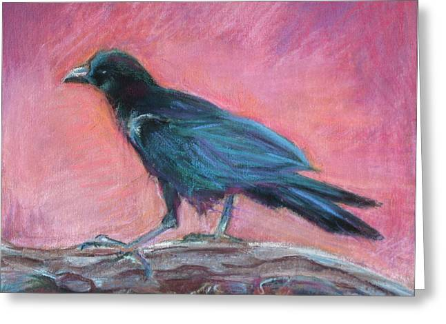 Raven Pastels Greeting Cards - Poes Pal Greeting Card by Beth Lowell