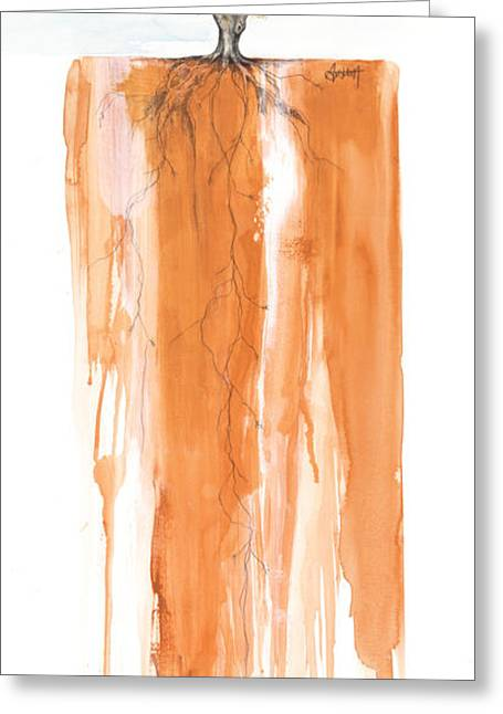 Roots Mixed Media Greeting Cards - Poinciana tree orange Greeting Card by Anthony Burks Sr