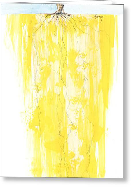 Roots Mixed Media Greeting Cards - Poinciana Tree Yellow Greeting Card by Anthony Burks Sr