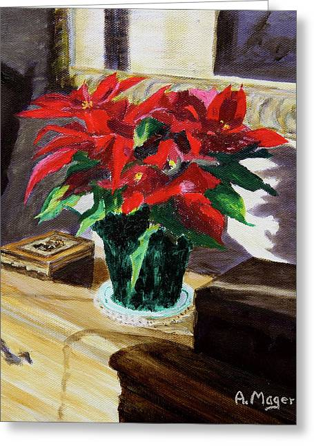Interior Still Life Paintings Greeting Cards - Poinsettia Greeting Card by Alan Mager