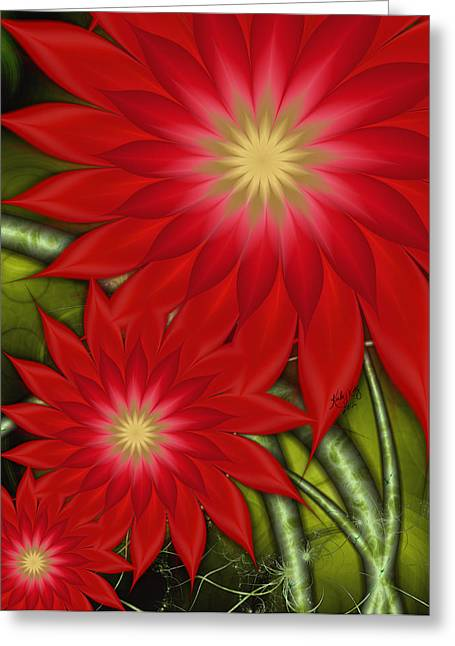 Karlajkitty Digital Art Greeting Cards - Poinsettia Greeting Card by Karla White