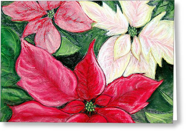 Holiday Pastels Greeting Cards - Poinsettia Pastel Greeting Card by Nancy Mueller