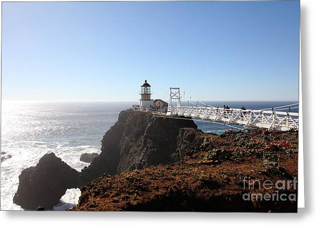 Bonita Point Greeting Cards - Point Bonita Lighthouse in The Marin Headlands - 5D19700 Greeting Card by Wingsdomain Art and Photography