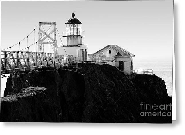 Bonita Point Greeting Cards - Point Bonita Lighthouse in the Marin Headlands . Black and White Greeting Card by Wingsdomain Art and Photography