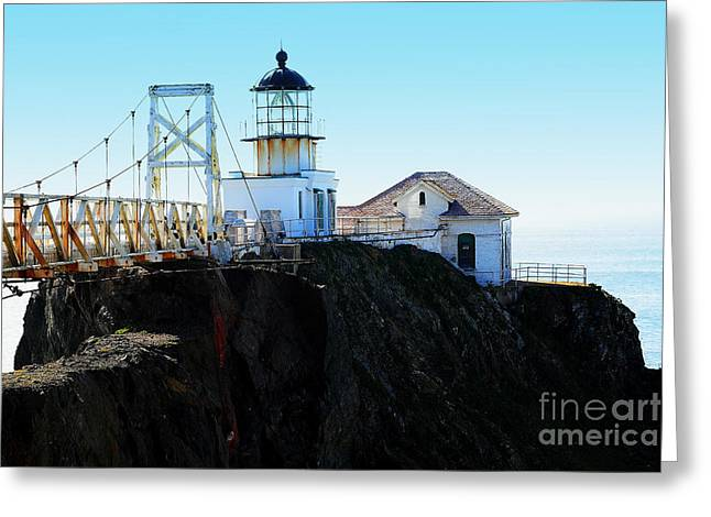 Bonita Point Greeting Cards - Point Bonita Lighthouse in the Marin Headlands Greeting Card by Wingsdomain Art and Photography