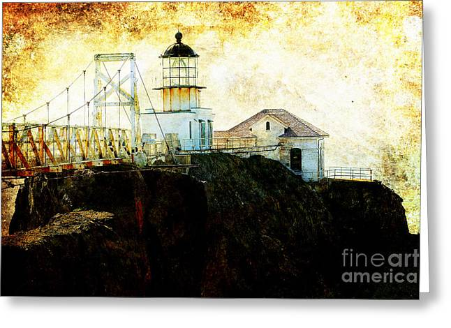 Bonita Point Greeting Cards - Point Bonitas Lighthouse . texture Greeting Card by Wingsdomain Art and Photography