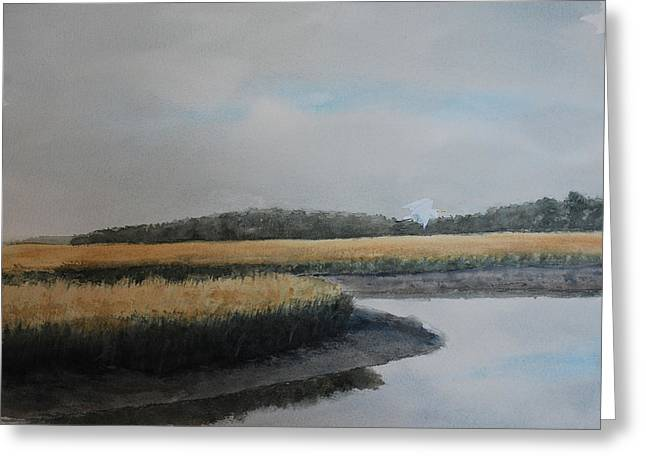 Tidal Creek Scene Greeting Cards - Point Comfort Greeting Card by Stanton Allaben