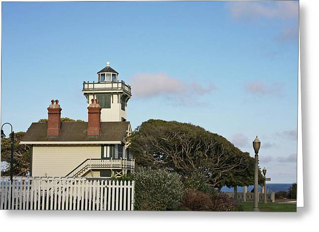 Point Fermin Light - an elegant Victorian Style Lighthouse in CA Greeting Card by Christine Till